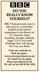 The newspaper advert for participants